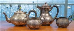Sale 9164H - Lot 63 - A four piece Sheffield plated service, missing lids