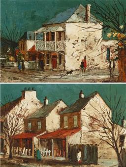 Sale 9170A - Lot 5053 - RIC ELLIOT (1933 - 1995) (2 works) Paddington Terrace & Fishermans Cottage, Double Bay oil on boards 13.5 x 21.5 cm each (frame: 26...