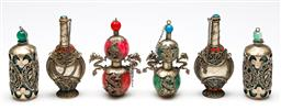 Sale 9246 - Lot 28 - Indian metal mounted snuff bottles and others featuring dragons and others (6) (Avg H:9cm)