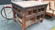 Sale 8395 - Lot 1011 - Vintage Timber Framed Printers Works Bench with Compartmental Sides & Metal Top