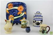 Sale 8477 - Lot 78 - Clarice Cliff Jug ( A.F) with Other Australian Ceramics inc Jo Black