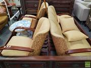 Sale 8495F - Lot 1096 - Art Deco Three Piece Lounge Suite incl. Two Half Seater Pair of Armchairs