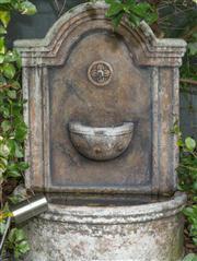 Sale 8575H - Lot 93 - A composite stone bird bath with semi-circular fountain base