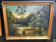 Sale 8655 - Lot 2050 - Artist Unknown (Early C20th) - Willowtree by the River oil on canvas, 39.5 x 49.5cm,  unsigned