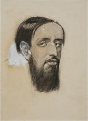 Sale 8781A - Lot 5071 - Norman Lindsay (1879 - 1969) - Portrait of a Bearded Man, 1905 28 x 20cm