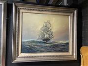 Sale 8878 - Lot 2091 - Artist Unknown - Wool Clipper, oil on canvas board, 82 x 97cm, signed lower right