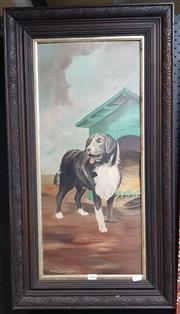 Sale 9024 - Lot 2052 - The Armless Artist Sheep Dog, oil on academic board (A.F), frame: 86 x 47 cm, signed lower left