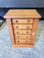 Sale 9031 - Lot 1015 - Victorian Oak Miniature Wellington Chest, of five graduated drawers, two flaps & plinth base (H: 49 x W: 33 x D: 24 cm