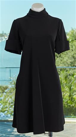Sale 9120K - Lot 64 - An Emporio Armani black collared short sleeve dress; with two pockets to side & zip up back. Size 42