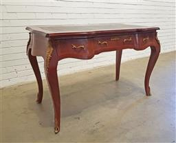 Sale 9137 - Lot 1038 - Three drawer tooled top desk with brass mounts on cabriole legs - 186 (h86 x w126 x d67cm)