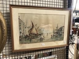 Sale 9152 - Lot 2089 - W E Johnson Venetian Scene, 1889 watercolour 28.5 x 47cm (frame: 42 x 60cm) signed and dated lower right