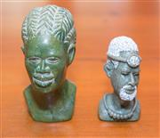 Sale 8368A - Lot 66 - Two carved Zimbabwean verdite heads, both signed; Edmund Chihowa and M John, taller 14cm