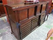 Sale 8559 - Lot 1070 - A Korean Pine & Elm Cabinet, with four sliding doors upper, two ribbed sliding doors, drawer & hinged door below