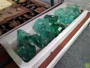 Sale 8589 - Lot 1030 - Tray of Green Random Glass
