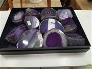Sale 8601 - Lot 1316 - Tray of Purple Polished Agate