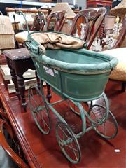 Sale 8714 - Lot 1070 - Antique Green Painted Dolls Pram