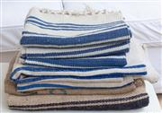 Sale 8866H - Lot 36 - A quantity of French grain sacks and three blue striped woven mats