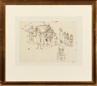Sale 8934H - Lot 79 - Donald Friend, A group of nine pendant ink figural sketches in gilt frames, each frame size 53cm x 60cm