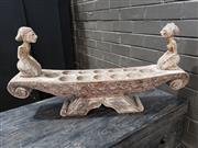 Sale 8962 - Lot 1099 - Carved Timber Centrepiece/Tea Light Holder (H:42 x W:80 x D:17cm)