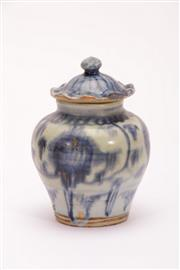 Sale 9015C - Lot 710 - A Blue and White Possibly Qing Period Lidded Jar (H 13.5cm)