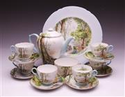 Sale 9081 - Lot 23 - A Shelly Woodland Coffee setting for six