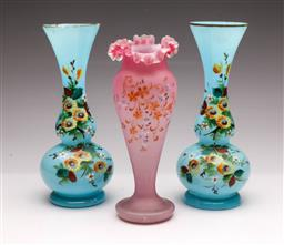 Sale 9104 - Lot 73 - A Pair of hand painted blue glass vases with gilt rim (H26cm) together with another