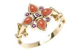 Sale 9145 - Lot 356 - A VICTORIAN INSPIRED CORAL AND GEMSET RING; 9ct gold quatrefoil design set with cabochon corals and round cut rubies, size N, top 13...