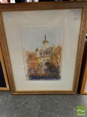 Sale 8497 - Lot 2043 - Jim Keller (2 works) - Distant View of a European Town; Abstract frame size: 59.5 x 49cm; 40 x 38cm