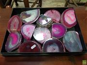 Sale 8601 - Lot 1388 - Tray Pink Polished Agate