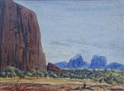 Sale 8733A - Lot 5043 - Ewald Namatjira (1930 - 1984) - Ayers Rock 26 x 25cm