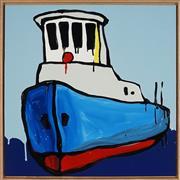Sale 8858H - Lot 18 - Jasper Knight (1978 - ) - Blue Hull 1960s Tug 60 x 60cm