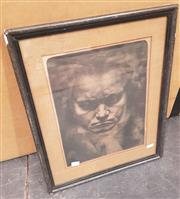 Sale 9019 - Lot 2021 - Jan Tekker Portrait of  Beethoven, 1918 mezzotint frame: 51 x 41 c,. signed and dated lower left