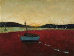 Sale 9084 - Lot 542 - Sali Herman (1898 - 1993) - Evening at Pittwater, 1973 37.5 x 50.5 cm (frame: 55 x 69 x 7 cm)
