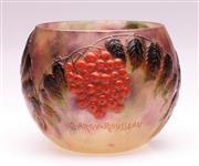 Sale 9081 - Lot 1 - Gabriel Argy-Rousseau Small Globular Vase Featuring Berry Vine (H: 7cm)