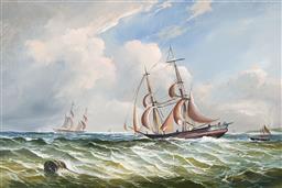 Sale 9127 - Lot 2011 - Robert Dumont-Smith (1908 - 1994) - Maritime Scene 19.5 x 29.5 cm (frame: 31 x 41 x 5 cm)
