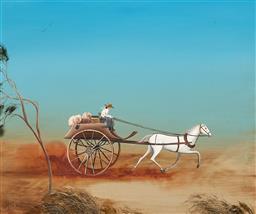 Sale 9212A - Lot 5002 - SUE NAGEL (1942 - ) - Daisy Bates in a Dust Storm 37 x 44.5 cm (frame: 48 x 56 x 4 cm)
