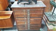 Sale 8395 - Lot 1079 - Antique 20 Drawer Printers Typeset Cabinet