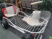 Sale 8620 - Lot 1036 - Pair of Metal Diamond Chairs with Padded Seat