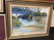 Sale 8690 - Lot 2043 - Cynthia Taylor, Coastal Wetlands, oil on canvas panel, 60 x 76cm (frame size), signed lower right