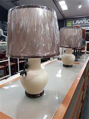 Sale 8745 - Lot 1052 - Pair of 1960s Style Cream & Brown Table Lamps (Retro9)