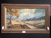 Sale 8807 - Lot 2076 - Dorothy Lindsay, Country Lane, oil on board, frame size: 23.5 x 39cm, signed lower right