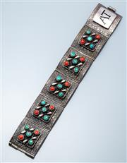 Sale 9037F - Lot 73 - AN 800 SILVER TURQUOISE AND STONE BRACELET; 33.5mm wide square plaques, 5 with pierced central designs set with turquoise and red pa...