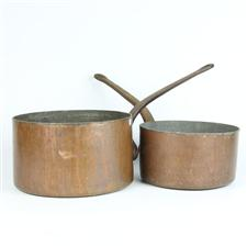 Sale 8351A - Lot 10 - French Copper Pair Of Graduated Saucepans diameter 24-29cm depth 17cm(approx weight 11.5kg)