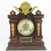 Sale 8356 - Lot 86 - Oak Cased Mantle Clock