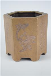 Sale 8381B - Lot 47 - Chinese Yixing Hexagon Brush Pot, Raised Flower Design; marks to base, H13.5cm