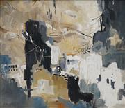 Sale 8708A - Lot 581 - Chas Barnett (1903 - ) - Backdrop to City 70.5 x 80.5cm