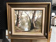 Sale 8807 - Lot 2083 - Ronald Peters, Turron River, oil on board, frame size: 38 x 43.5cm, signed lower left