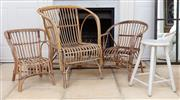 Sale 8866H - Lot 98 - One large and two small cane chairs, height of back 80cm together with a four legged stool