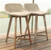 Sale 8904H - Lot 65 - A pair of Satara outdoor living UV treated bar stools in ivory. Height of back 88cm x Width 50cm
