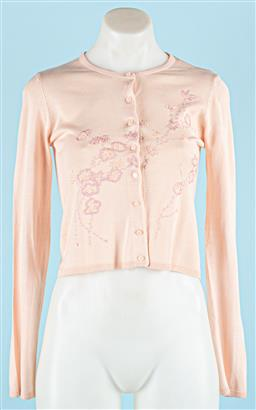Sale 9091F - Lot 21 - A COLLETTE DINNIGAN BABY PINK SILK EMBROIDERY CARDIGAN; size S, 100% silk